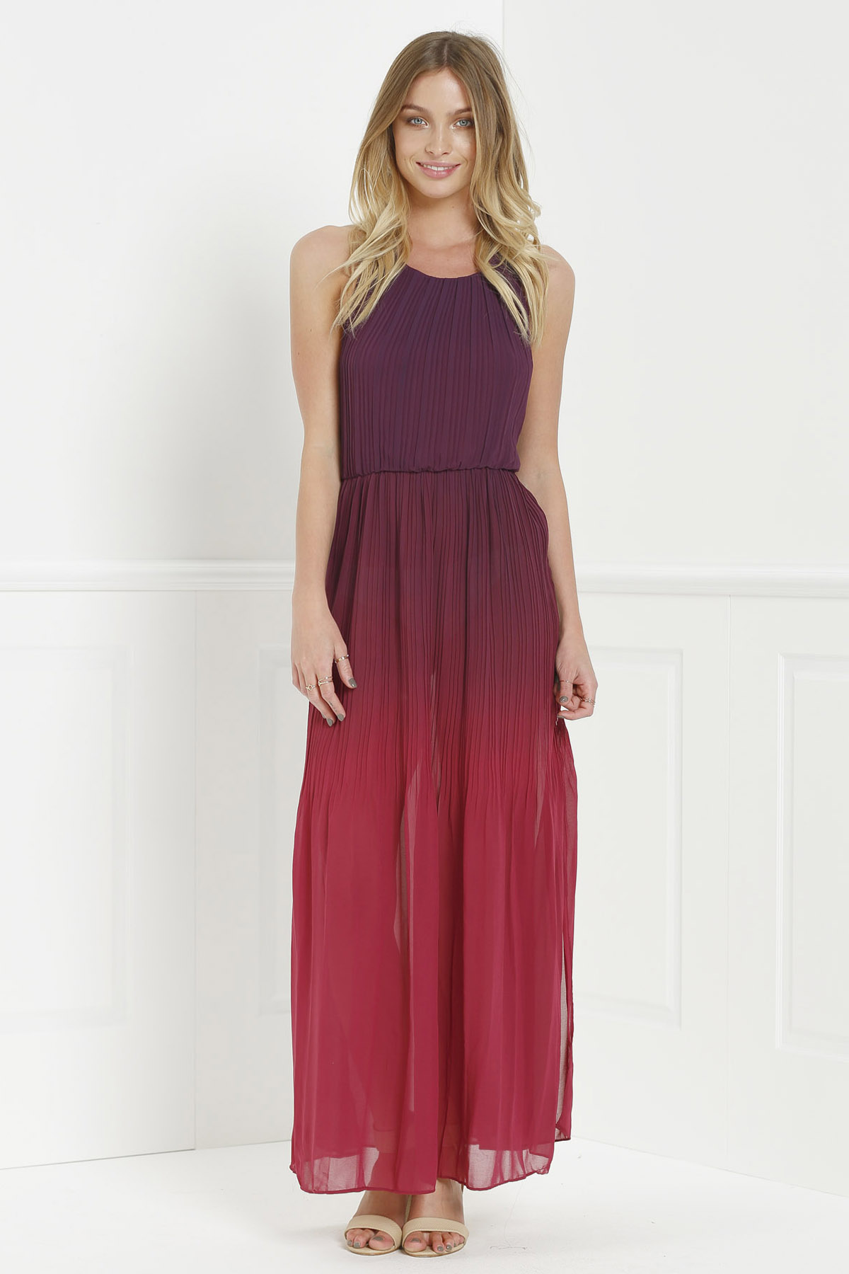 Halter Neck Sleeveless Ombre Color High Slit Maxi Dress