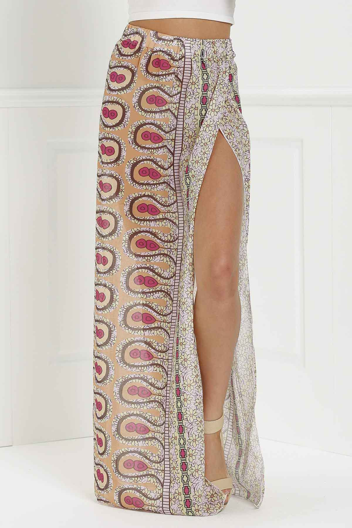High-Waisted High Slit Printed Long Skirt