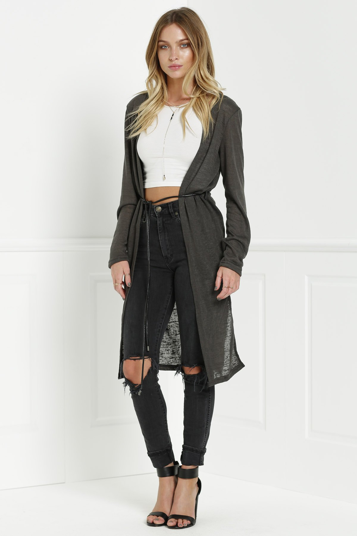 Solid Color New Look Midi Cardigan - OLIVE GREEN S