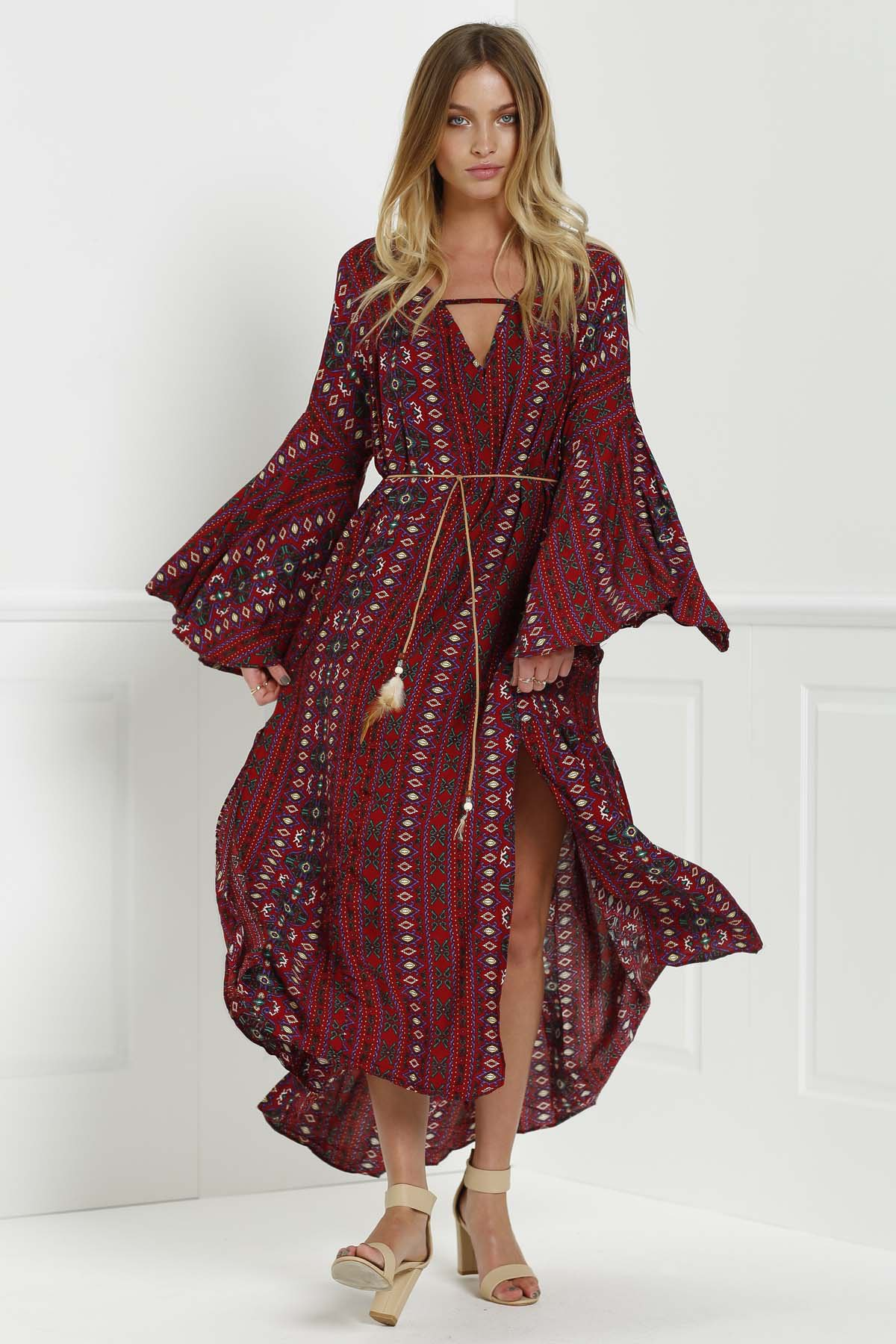 V-Neck Bell Sleeve Tribal Pattern Print Dress