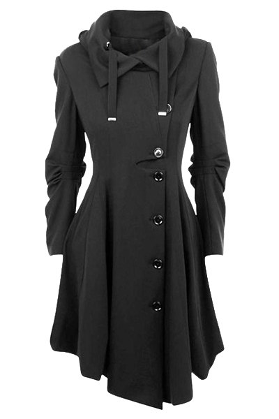 Single-Breasted Irregular Hem Skirted Coat