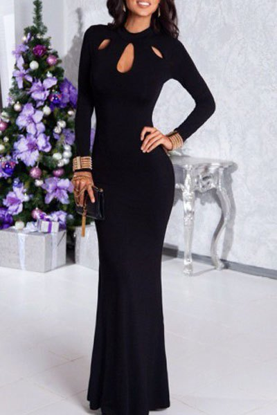 Stand Neck Long Sleeve Black Hollow Maxi Dress