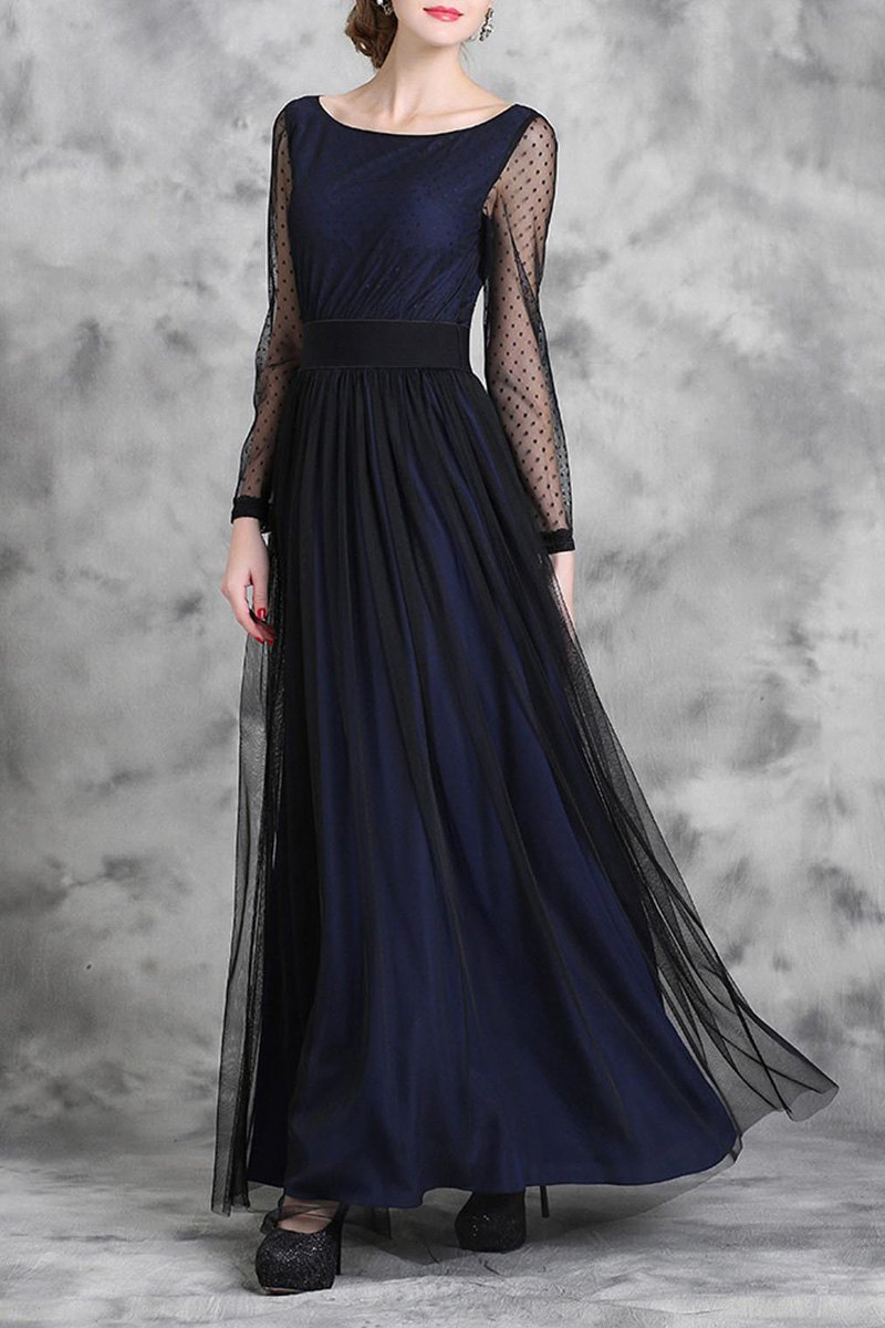 Scoop Neck Long Sleeve Voile Spliced Maxi Dress
