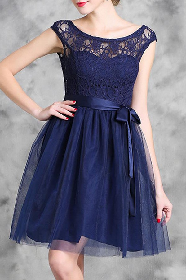 Scoop Neck Sleeveless Lace Spliced Flare Dress