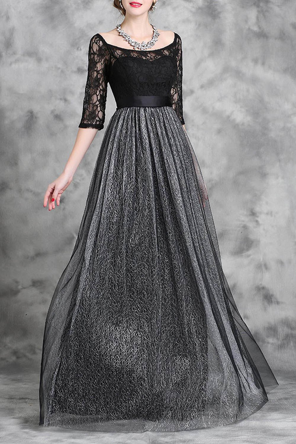 Half Sleeve Lace Spliced Maxi Dress