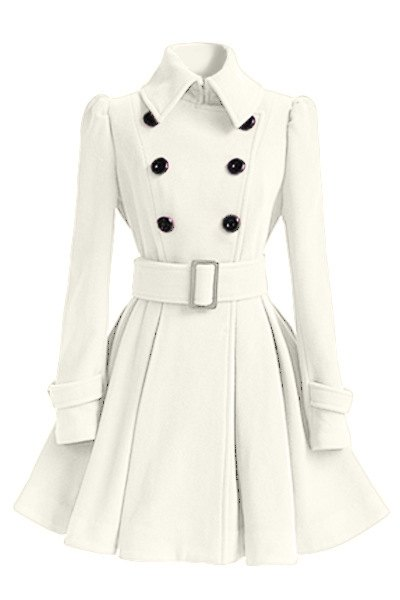 Turn-Down Collar Solid Color Belted Wool Dress Coat