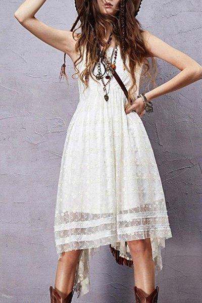 Round Neck Sleeveless Embroidered Irregular Hem Dress
