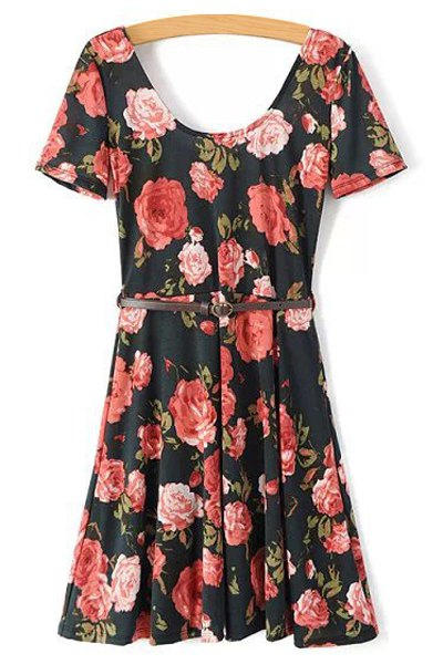 Full Floral Short Sleeve A Line Dress 164500101
