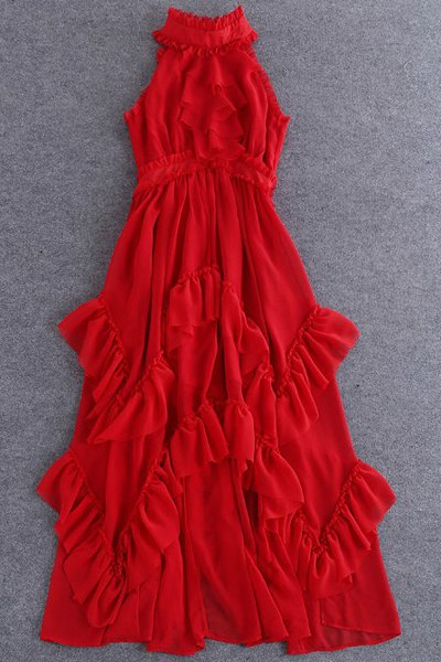 Buy Solid Color Ruffles Stand Collar Sleeveless Maxi Dress RED L