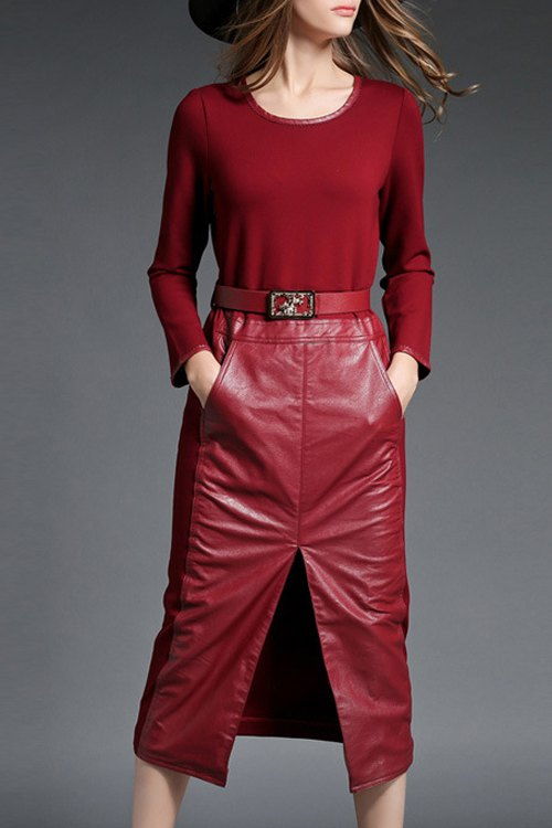 Buy PU Leather Spliced Long Sleeve Front Slit Dress RED XL