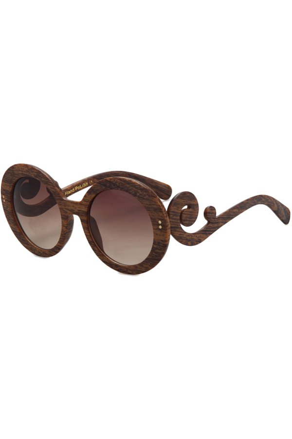 Rattan Shape Wood Pattern Sunglasses For Women