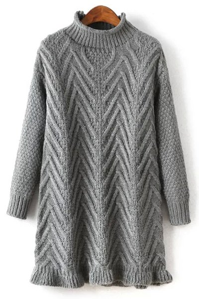 Buy Ruffled Hem Mock Neck Solid Color Sweater GRAY ONE SIZE(FIT SIZE XS TO M)