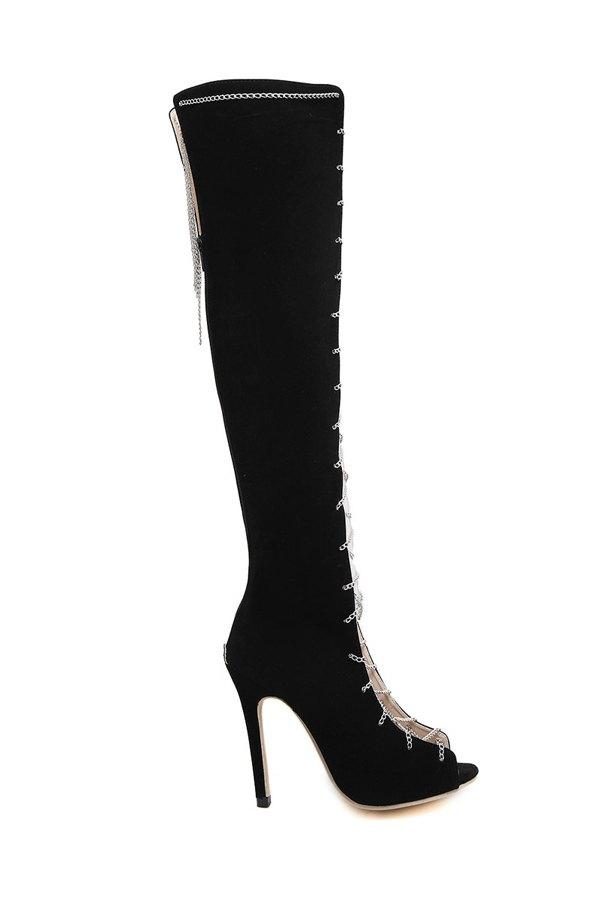 Chains Peep Toe Black High Heel Boots 165124602