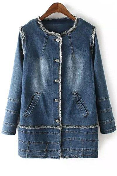 Jewel Neck Long Sleeve Denim Coat