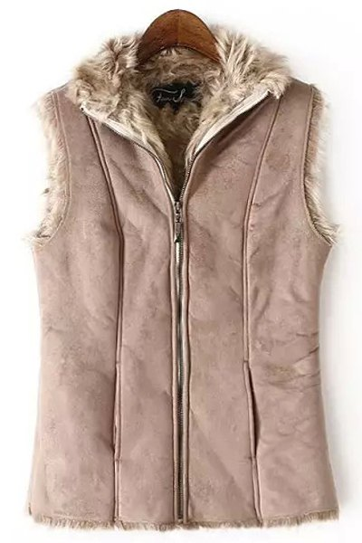 Fur Collar Solid Color Waistcoat