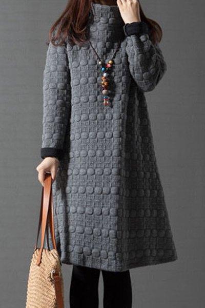 Turtleneck Long Sleeve A-Line Thermal Dress