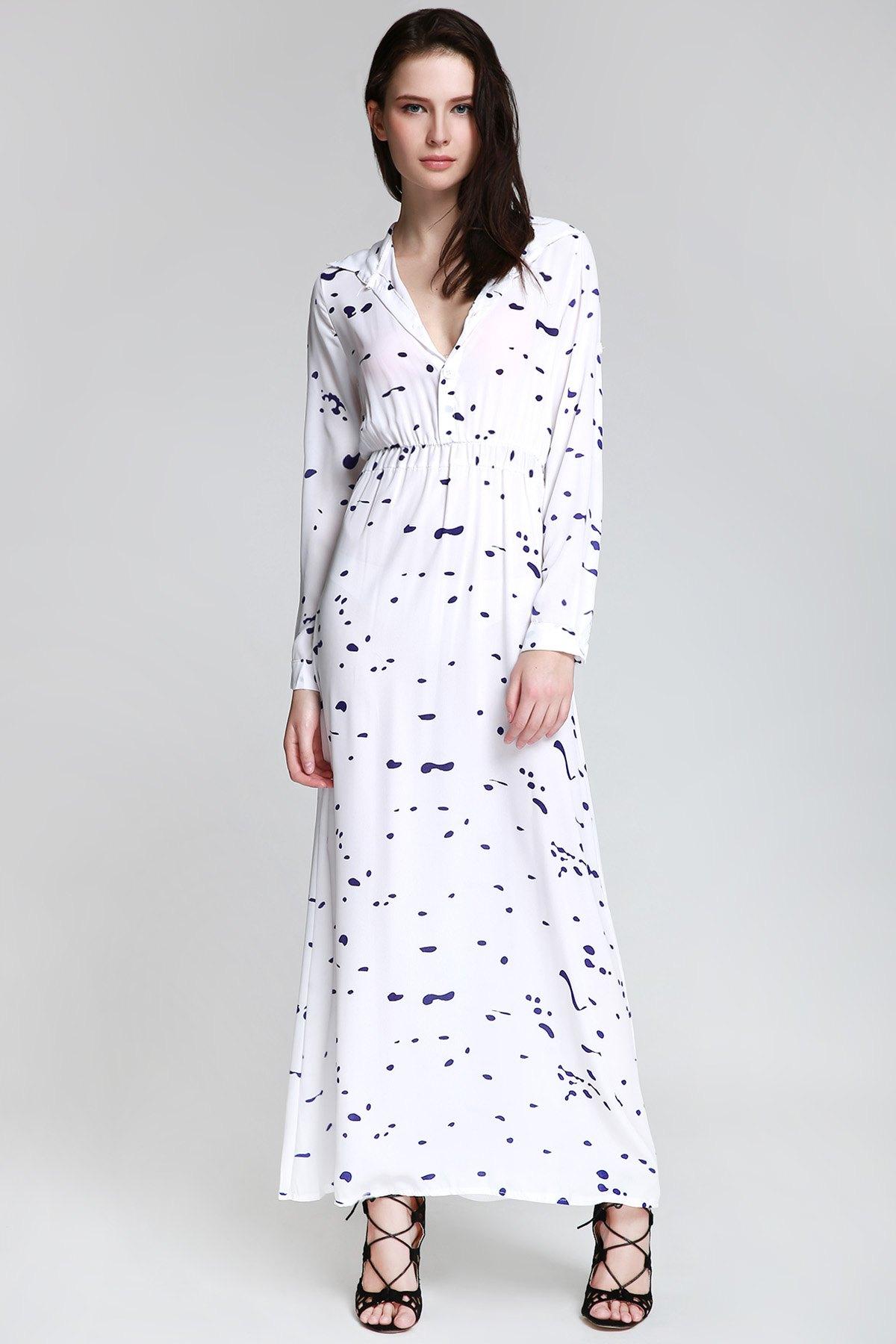 Shirt Neck Long Sleeve Ink Print Maxi Dress