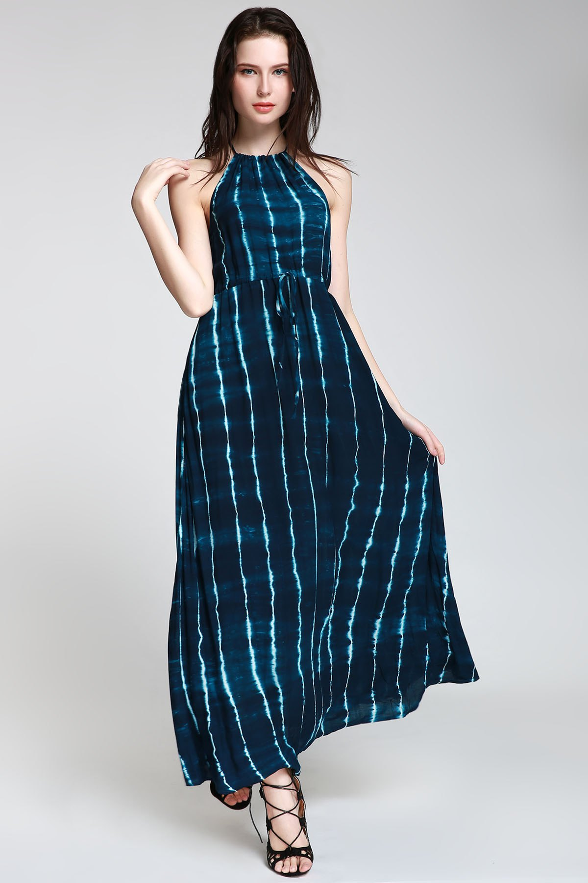Abstract Print High Slit Maxi Dress