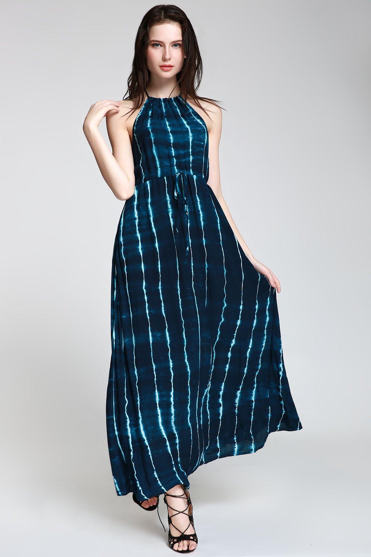 Abstract Print High Slit Maxi Dress
