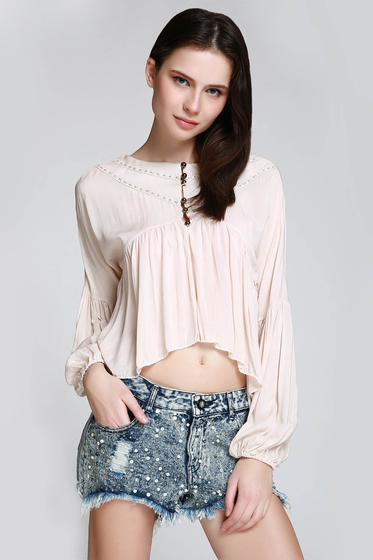 Ruffle Asymmetrical Long Sleeve Blouse
