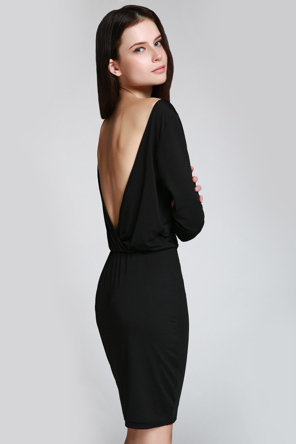 Scoop Neck 3/4 Sleeve Open Back Bodycon Dress