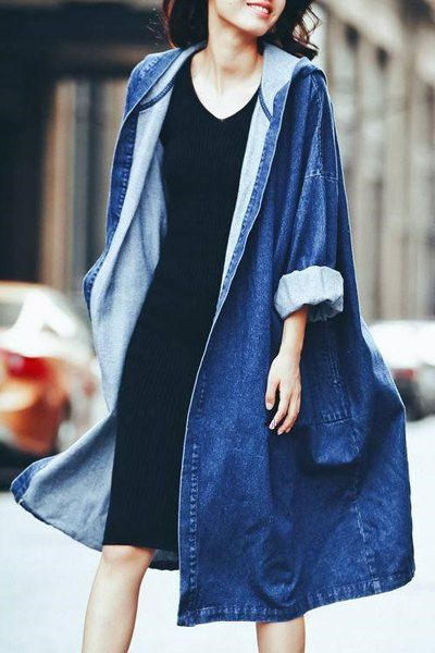 Hooded Long Sleeve Denim Loose Coat