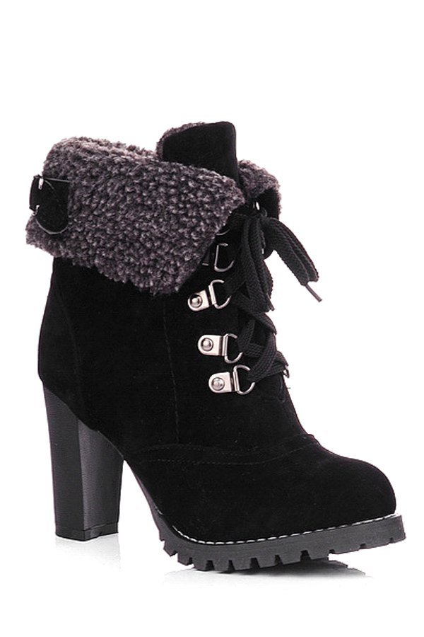 Buckle Strap Lace-Up High Heel Boots