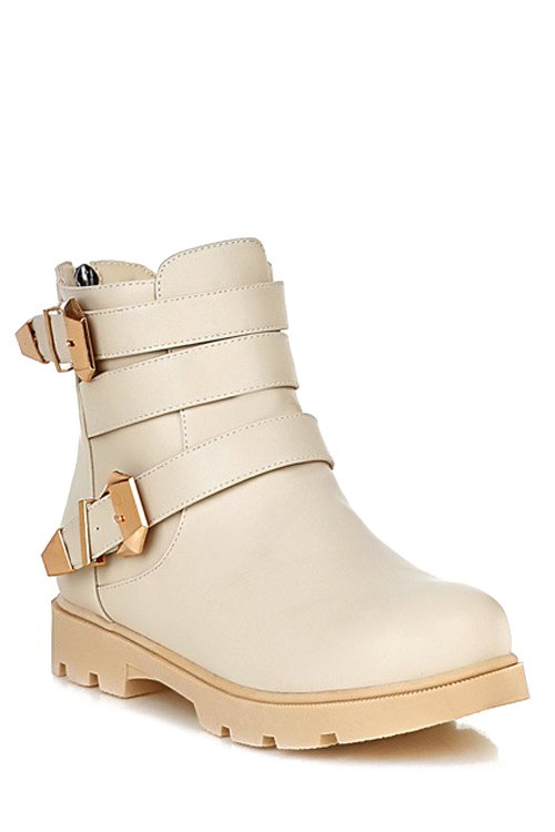 Metal Buckles Solid Color Short Boots