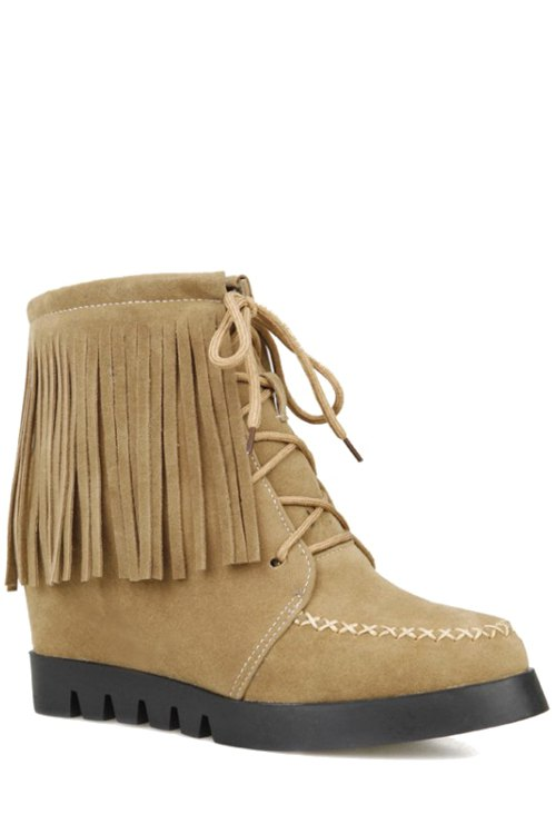 Fringe Criss-Cross Hidden Wedge Short Boots