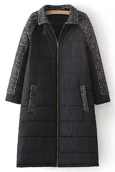 Wool Spliced Long Sleeve Zipper Padded Coat 167213701
