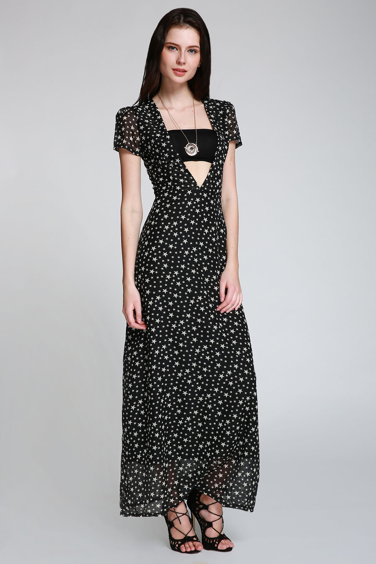 Plunging Neck Short Sleeve Full Star Print Maxi Dress