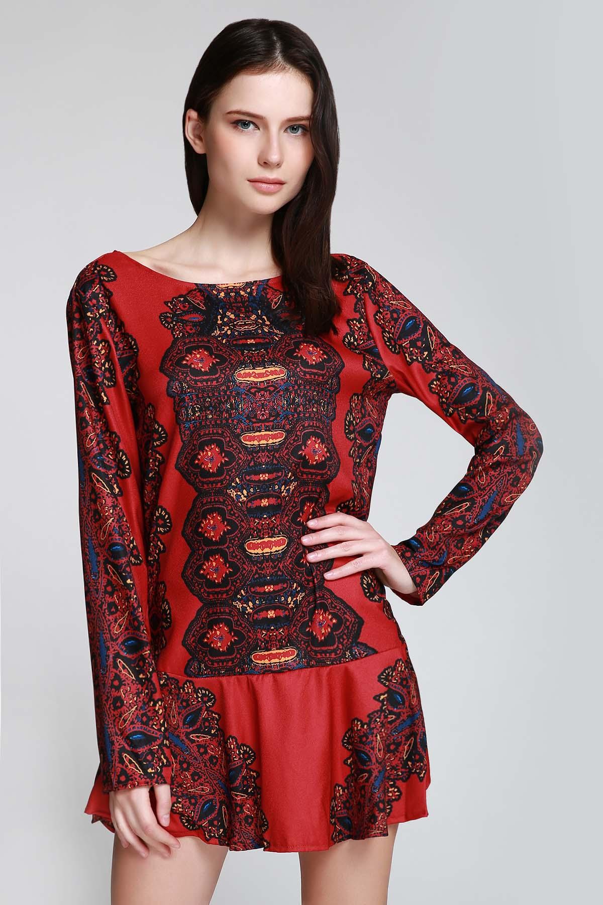Bohemian Ethnic Pattern Hollow Back Tunic Dress