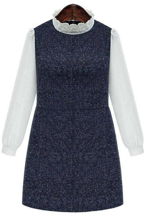 Chiffon Spliced Stand Collar Long Sleeve Dress 167695604