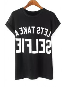 Round Neck Letter Print T-Shirt