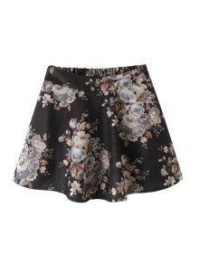 Floral Print Elastic Waist Mini Skirt