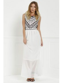 Backless Geometric Print Chiffon Maxi Dress - White
