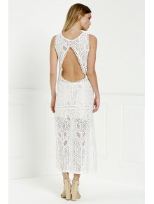 Hollow Back Openwork Lace Hook Slit Dress - WHITE S