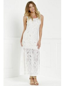 Hollow Back Openwork Lace Hook Slit Dress - White