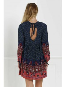 3/4 Sleeve Floral Tunic Dress