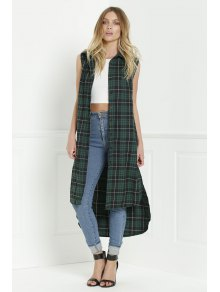 Plaid Shirt Neck Sleeveless Maxi Top