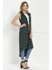 Plaid Shirt Neck Sleeveless Maxi Top - GREEN S