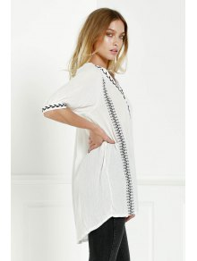 Embroidery V Neck 3/4 Sleeves Dress
