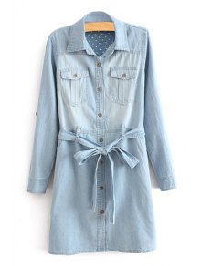 Long Sleeve Self-Tie Belt Denim Dress - Light Blue S