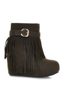 Buy Wedge Heel Buckle Fringe Short Boots