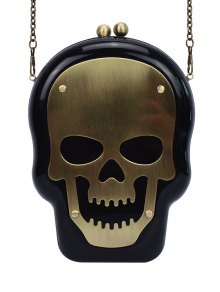 Skull Shape Kiss Lock Chains Evening Bag - Black