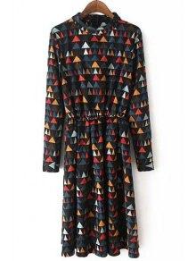 Colorful Triangle Print Corduroy Dress - M