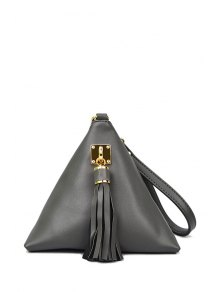 Solid Color Triangle Shape Tassel Clutch Bag - Gray