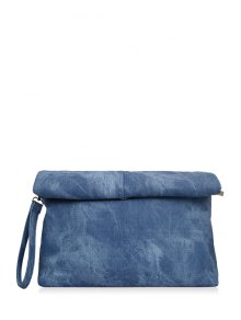 Solid Color Hemming Denim Clutch Bag - Blue