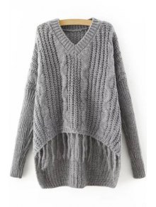 Gray Tassels V Neck Long Sleeve Jumper