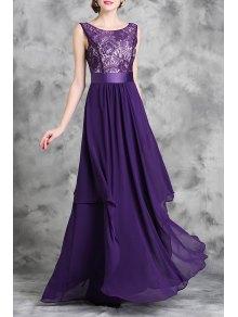 Lace Spliced Sleeveless A Line Maxi Dress